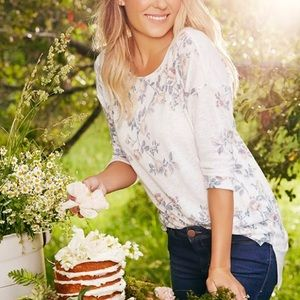 Lauren Conrad Runway white floral top